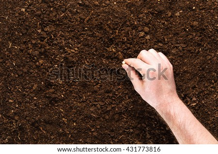Soil texture background seen from above, top view. - stock photo