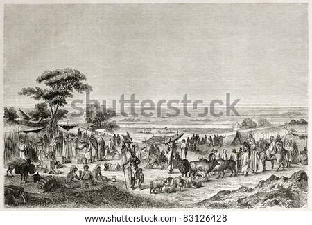 Sokoto marketplace old view, Nigeria. Created by Hadamard after Barth, published on Le Tour du Monde, Paris, 1860 - stock photo