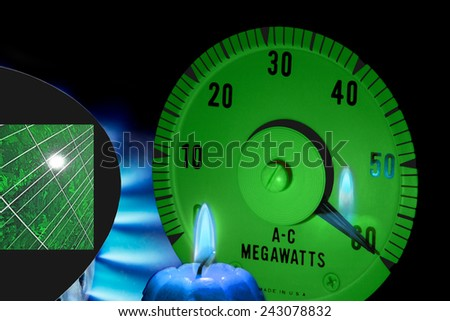 Solar and natural gas clean energy sources or resources which can produce power measured in megawatts - stock photo