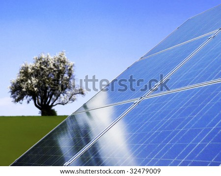 solar and tree - stock photo