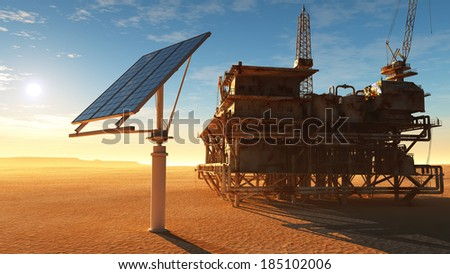 Solar battareya station and the old oil-producing desert. - stock photo
