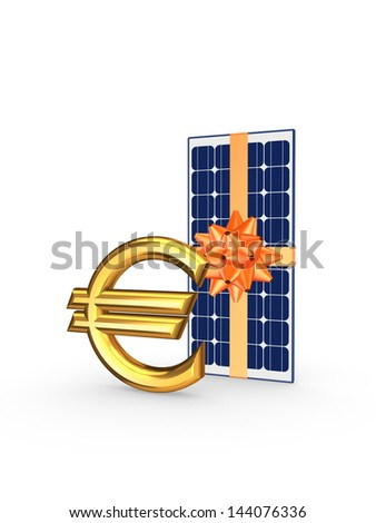 Solar battery and symbol of euro.Isolated on white.3d rendered. - stock photo