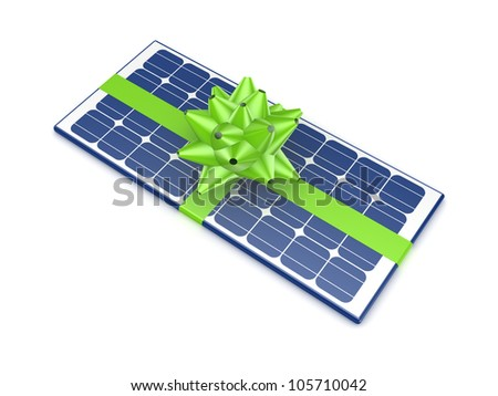 Solar battery decorated with a green ribbon.Isolated on white background.3d rendered. - stock photo