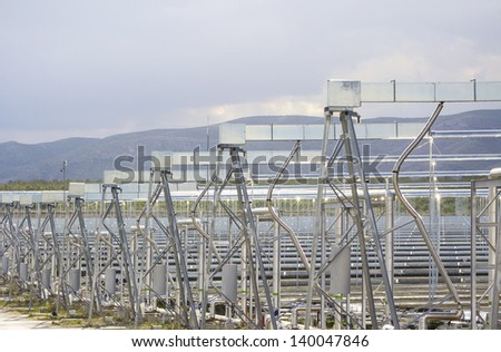 Solar boilers based on unique Fresnel collector technology - stock photo