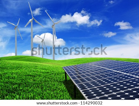solar cell energy panels and wind turbine - stock photo