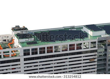solar cell on rooftop of a parking building - stock photo