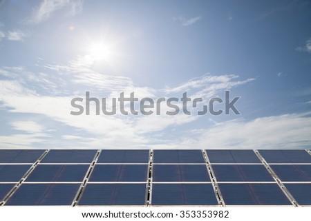 solar cell panel on  cloud blue sky , Energy saving concept - stock photo