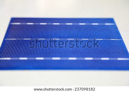 Solar cell panel shows soldering line - stock photo