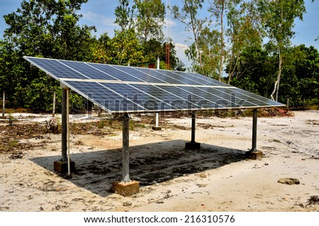 Solar cell panels in village - stock photo