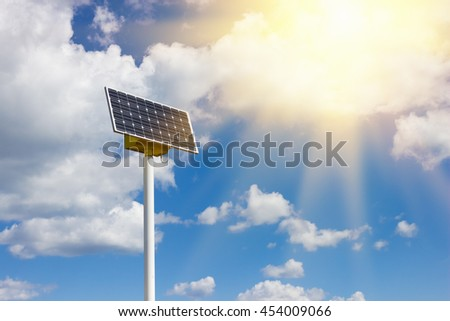 Solar cell power energy grid system technology on cloudy blue sky background. Sunlight