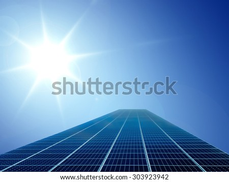 solar cell power energy grid technology in sun and sky background - stock photo
