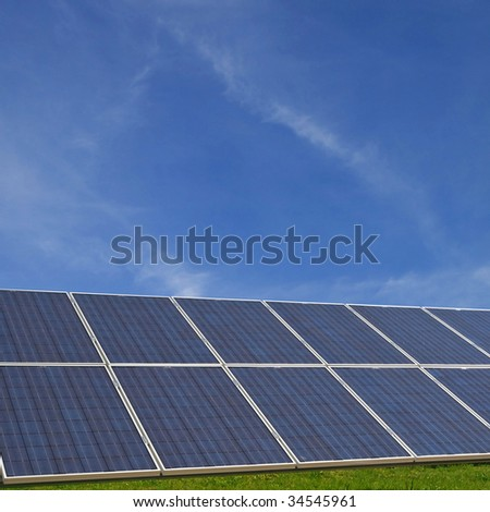 Solar cells with a radiant blue sky