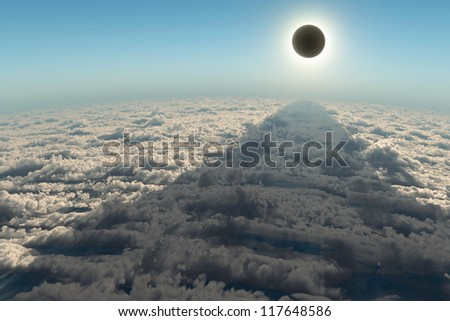 solar eclipse, aerial view - stock photo
