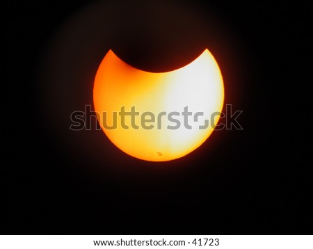 solar eclipse and sun spots - stock photo
