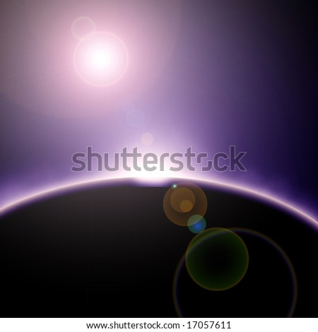 Solar eclipse in outer space on a dark background - stock photo