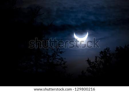 solar eclipse, January 4th 2011 - stock photo