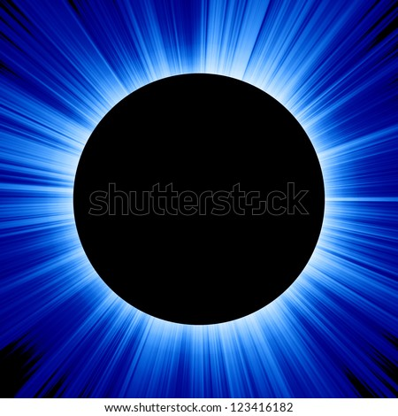 solar eclipse on a dark blue background - stock photo