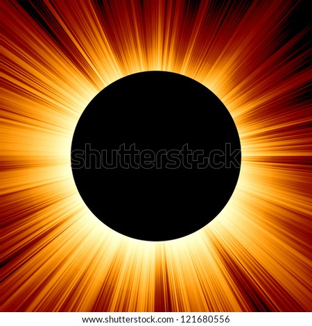solar eclipse on an orange background - stock photo