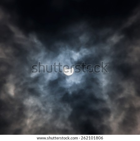 Solar eclipse on the island of Mykonos. Greece. 20.03.2015. 11:50. - stock photo
