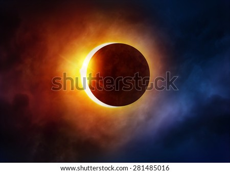 Solar Eclipse. The moon moving in front of the sun. Illustration - stock photo