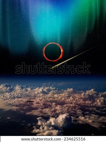 "Solar Eclipse with aurora ""Elements of this image furnished by NASA ""  - stock photo"
