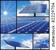Solar energy collage: Alternative & green energy! - stock photo
