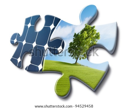 solar energy fits with nature, representation made with puzzle cards - stock photo