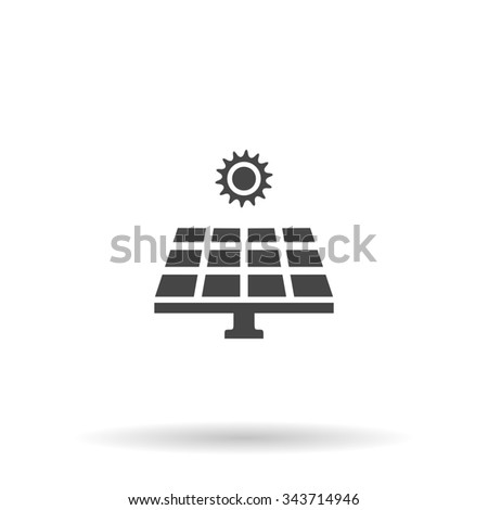 Solar energy panel. Flat icon on grey background with shadow - stock photo