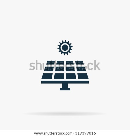 Solar energy panel. Flat web icon or sign on grey background with shadow. Collection modern trend concept design style illustration symbol - stock photo