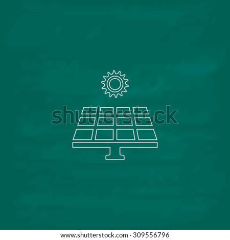 Solar energy panel. Outline icon. Imitation draw with white chalk on green chalkboard. Flat Pictogram and School board background. Illustration symbol - stock photo
