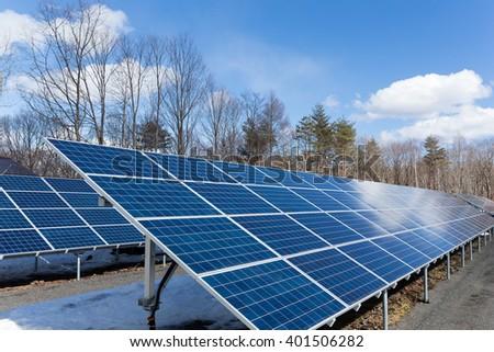 Solar energy panel plant - stock photo