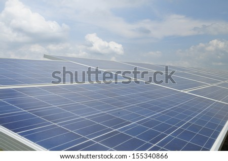Solar energy panels and blue sky