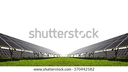 Solar energy panels on white background. Clean energy. - stock photo