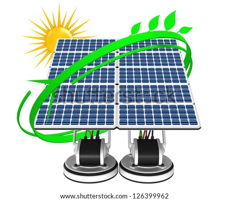 Solar energy panels with sun and green leaves
