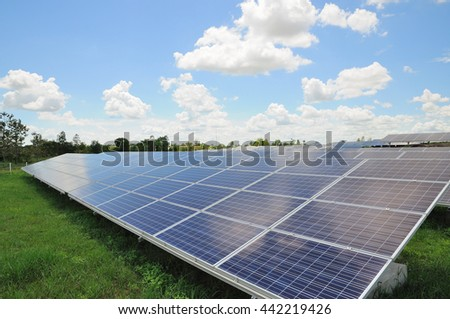 Solar energy plants with blue sky background