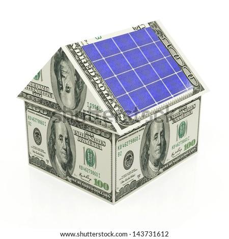 Solar energy savings on the white background - stock photo