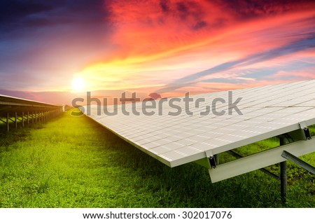 solar energy with sun , Clean energy , Solar power , Natural energy - stock photo