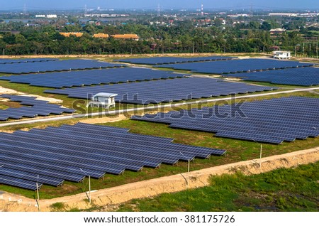 Solar farm, solar panels from the air