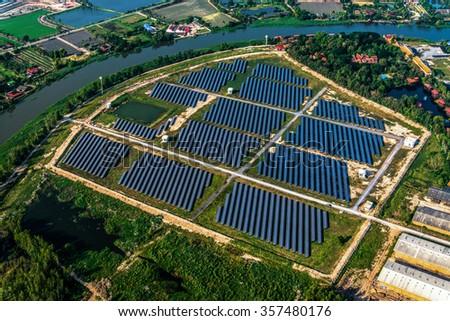 Solar farm, solar panels photo from the air - stock photo