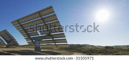 Solar field with blue sky