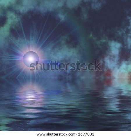 Solar glow on water with dark sky. - stock photo