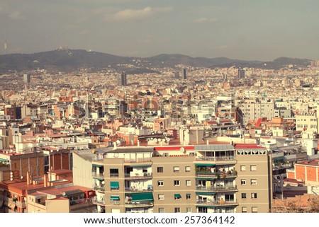 solar hot barcelona top view. retro style - stock photo