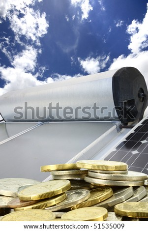 solar hot water panels and electricity panels - stock photo