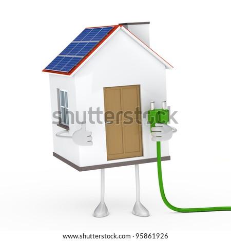 solar house figur hold a green plug - stock photo