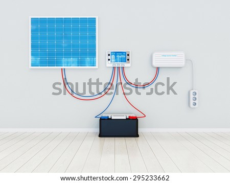Solar kit concept - all components - stock photo