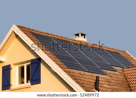 solar or photovoltaic panels on a roof