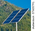 Solar over green mountain. - stock photo