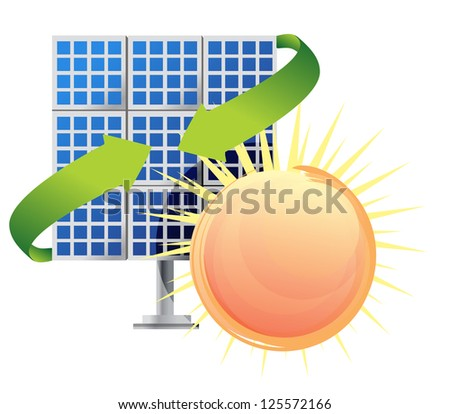 Solar panel and batteries with sun illustration