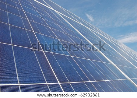 Solar Panel and Blue Sky - stock photo