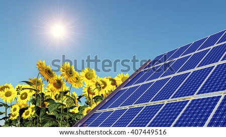 Solar panel and sunflowers Computer generated 3D illustration - stock photo
